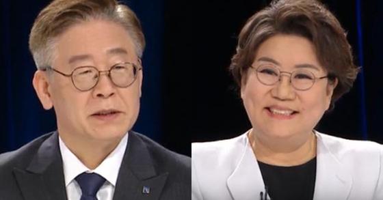 MBC 100분토론에 출연한 이재명 경기지사(왼쪽)과 이혜훈 의원. 연합뉴스