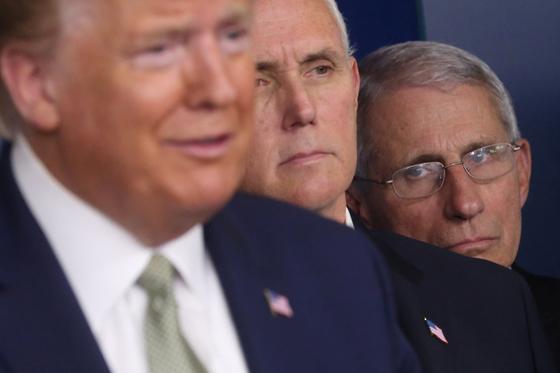 지난 17일 신종 코로나 TF 기자회견에서 트럼프 대통령이 답변을 하는 뒤로 앤서니 파우치 소장이 마뜩치 않은 표정으로 바라보고 있다. [로이터=연합뉴스]