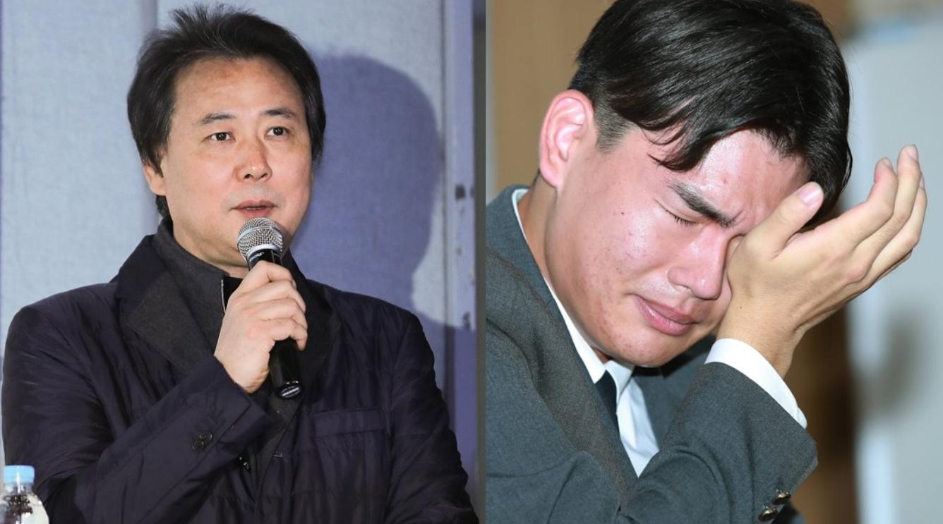 김창환 미디어라인엔터테인먼트 회장, 지난해 10월 기자회견에서 눈물을 흘리는 밴드 '더 이스트라이트'의 전 멤버 이석철군. 일간스포츠