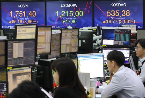 27일 코스피는 급등세로 출발해 장중 1750선을 회복했다. 연합뉴스