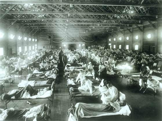 1918년 '스페인 독감' 환자를 격리 수용한 미국 캔자스주의 임시병동 모습. [중앙포토]