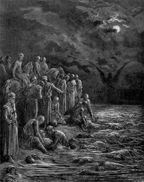 전염병에 감염돼 참화를 겪는 십자군을 표현한 판화 '나일강의 십자군'은 프랑스 출신 귀스타브 도레(Gustave Dore)의 작품이다.