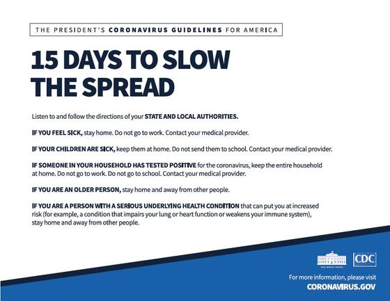 도널드 트럼프 미국 대통령이 3월 말→4월 말로 한 달 시한을 연장한 사회적 거리두기 지침[백악관]