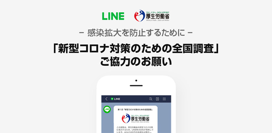 일본 후생노동성과 라인이 공동으로 신종 코로나 대응을 위한 전국 조사를 31일 실시한다. [라인 홈페이지 캡처]