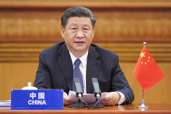시진핑 중국 국가주석이 26일 베이징에서 G20 화상회의에 참석해 발언하고 있다.[신화=연합뉴스]