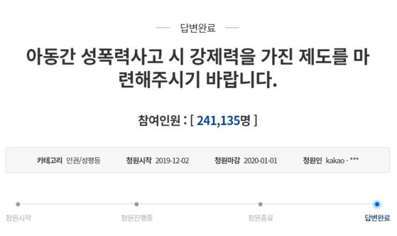 성남 어린이집 아동 간 성 관련 사고 국민청원에 24만 여명이 참여했다. 청와대 국민청원 게시판 캡처