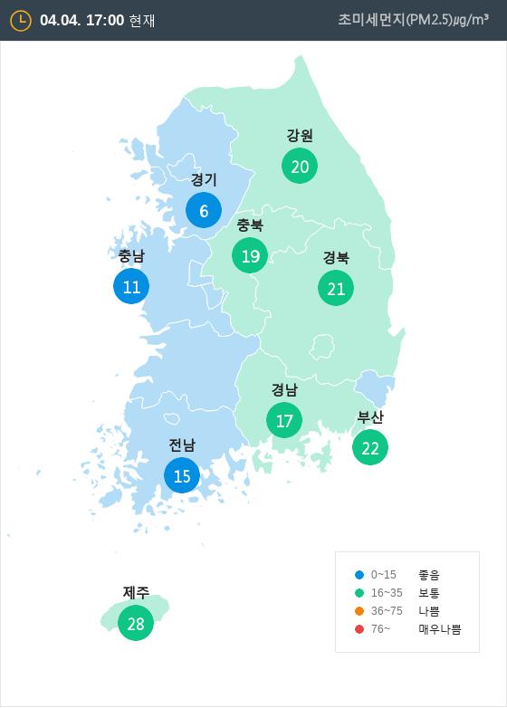 [4월 4일 PM2.5]  오후 5시 전국 초미세먼지 현황