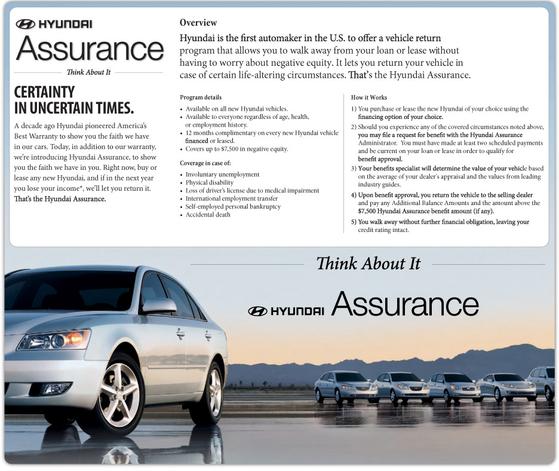2009년 글로벌 금융위기 당시 현대차 미주법인은 실직자의 차를 되 사주는 '어슈어런스 프로그램'으로 시장점유율을 올렸다. 사진 HMA