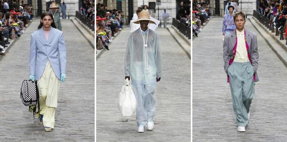 2020 S/S 시즌 트렌드인 셔벗 색상, 얇은 소재, 와이드 실루엣(왼쪽부터 차례대로) 의상을 착용한 모델의 모습. [Louis Vuitton 20 S/S Men's Collection]