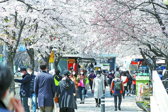 정부가 고강도 사회적 거리두기를 오는 19일까지 2주 연장하기로 발표한 가운데 5일 오후 서울 여의나루역 인근 한강변에 벚꽃 구경을 나온 시민들로 붐비고 있다. 우상조 기자