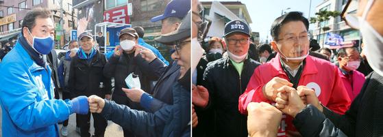 더불어민주당 이낙연 후보(왼쪽)와 미래통합당 황교안 후보가 주민들과 주먹악수로 인사하고 있다. 연합뉴스