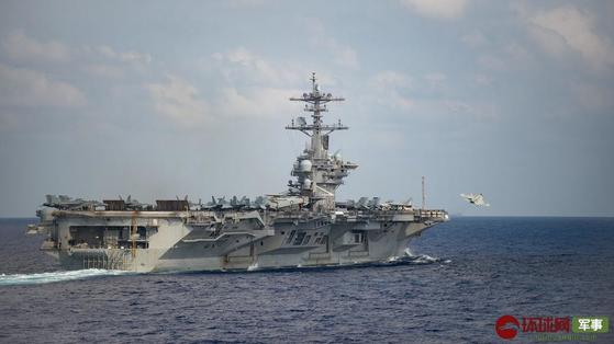 미 핵추진 항공모함인 시어도어 루스벨트함은 지난 3월 15일부터 18일까지 남중국해에서 '원정 타격부대' 행동 훈련을 전개했다. [중국 환구망 캡처]