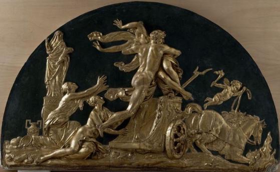 오귀스탱 파주의 '페르세포네를 납치하는 하데스' 조각. 페르세포네가 저승으로 내려오며 겨울이 시작됐다. [루브르박물관]