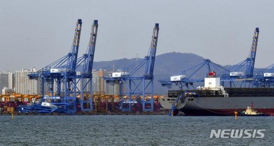 6일 오후 부산항 신항 북항컨테이너부두에 입항하던 컨테이너선 A호(15만706t급·승선원 23명)가 접안해 있던 선박, 부두 81번·85번 크레인 등과 충돌했다. 뉴시스