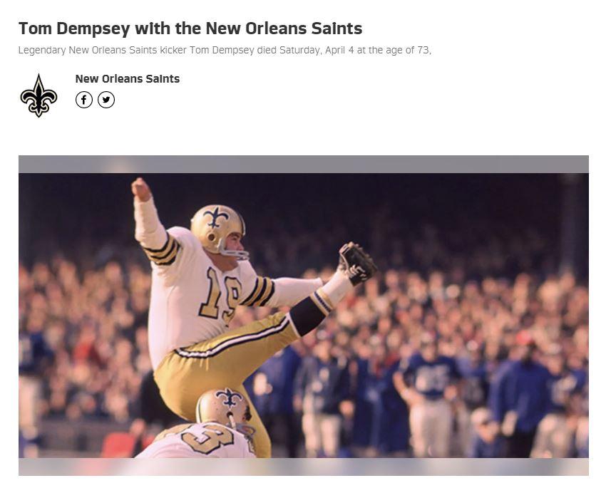 뉴올리언스 세인츠 구단 홈페이지 캡처.