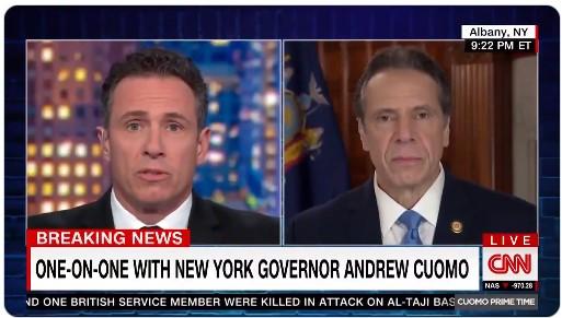 지난달 16일 크리스 쿠오모 CNN 방송 앵커(사진 왼쪽)가 자신의 형인 앤드루 쿠오모 뉴욕주지사를 인터뷰하고 있다. 크리스는 최근 확진 판정을 받았다. [유튜브 화면 캡처]