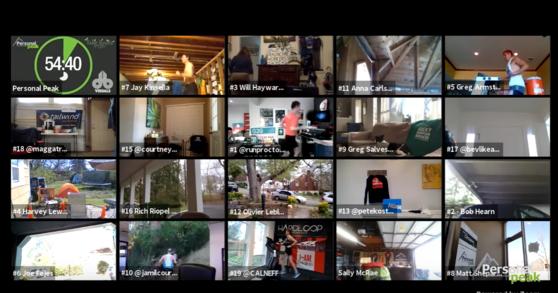 참가자들이 각자 화상회의 어플을 연결한 상태로 경기를 치르고 있다. 사진 유튜브