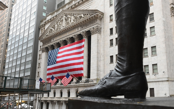7일(현지시간) 미국 뉴욕증시는 보합세로 장을 마쳤다. 사진은 뉴욕증권거래소(NYSE) 앞. 연합뉴스