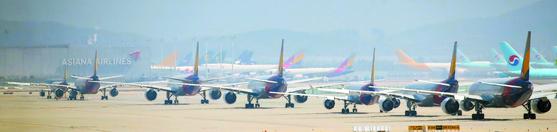 인천국제공항 주기장에 아시아나항공 여객기들이 멈춰 서 있다. 코로나19 확산으로 국제선 운행이 중단된 여파다. [연합뉴스]