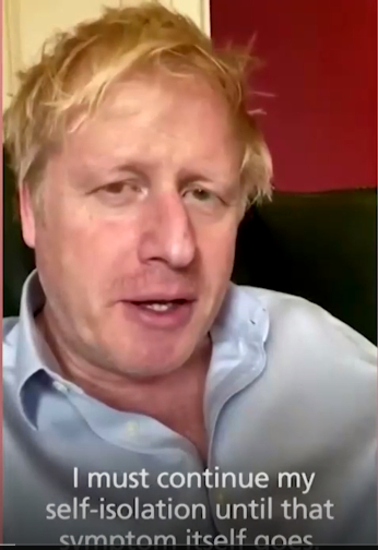 코로나19 의심증세로 자가격리 중인 보리스 존슨 영국 총리. 트위터 캡처