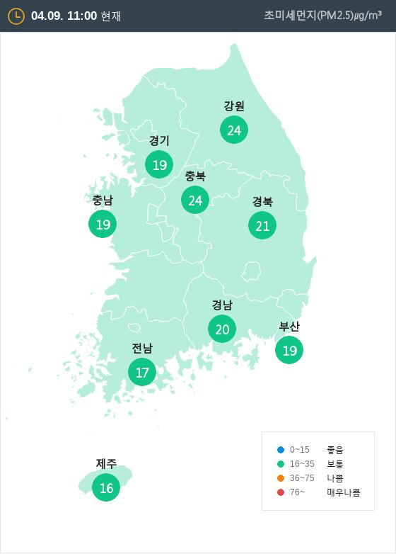 [4월 9일 PM2.5]  오전 11시 전국 초미세먼지 현황