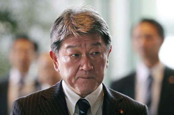 모테기 도시미쓰 일본 외무상. 신종 코로나 감염 우려로 10일 기자회견을 취소했다. [AP=연합뉴스]