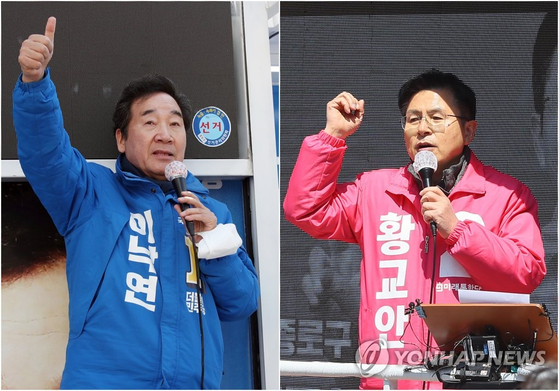 서울 종로에 출마한 이낙연 민주당 후보(왼쪽)와 황교안 통합당 후보가 각각 9일 종로구 창신동과 교남동에서 지지를 호소하고 있다. [연합뉴스]
