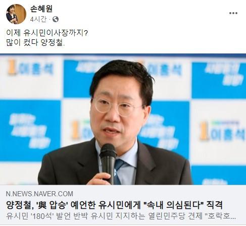 """손혜원 의원이 12일 페이스북에 """"많이 컸다. 양정철""""이라는 글을 올렸다 [페이스북 캡처]"""