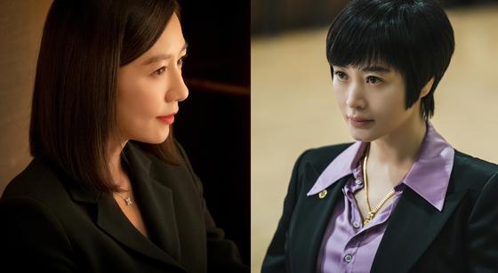 '부부의 세계' 지선우 역의 김희애(왼쪽), '하이에나' 정금자 역의 김혜수. 사진 JTBC·SBS