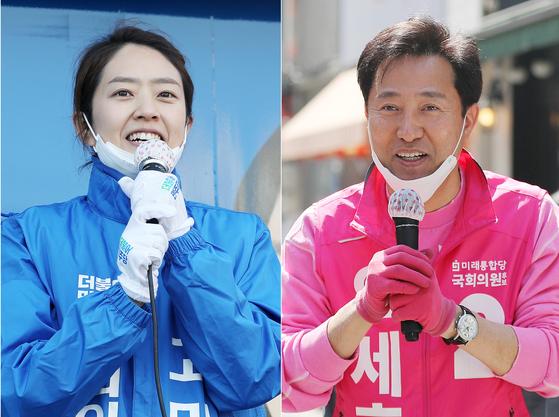 4·15 총선 서울 광진을에 출마한 고민정 더불어민주당 후보(왼쪽)와 오세훈 미래통합당 후보가 14일 서울 광진구에서 유권자들을 향해 지지를 호소하고 있다. 뉴스1