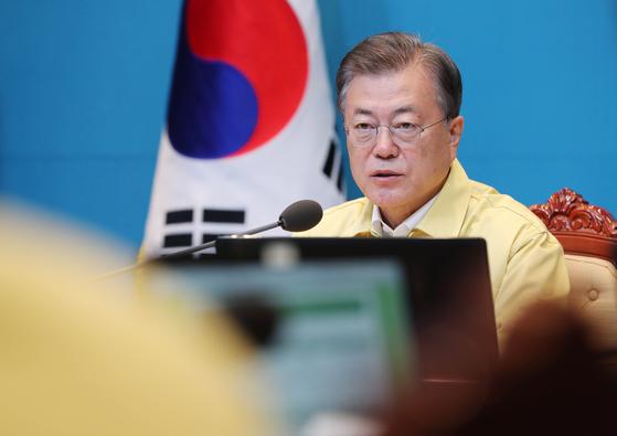 문재인 대통령이 14일 오전 청와대에서 열린 국무회의에서 발언하고 있다. 청와대사진기자단