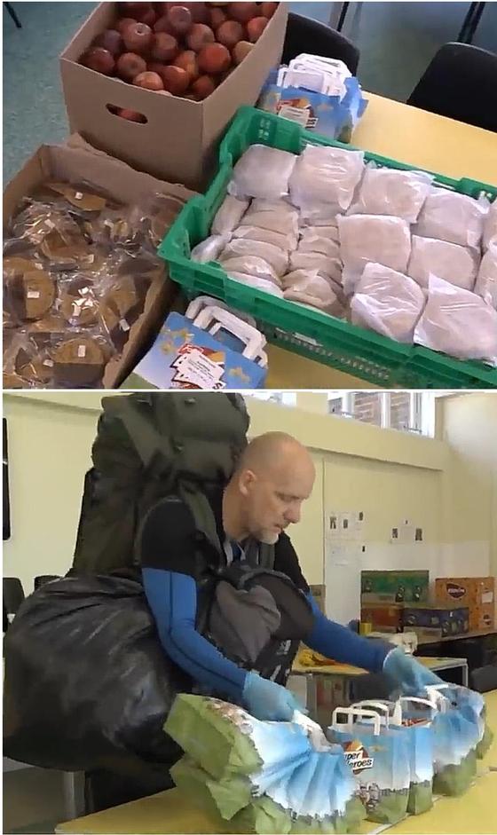 젠 포울스 선생님이 아이들에게 나눠줄 점심을 포장하고 있다. 그는 음식 준비도 돕는다.[유튜브 캡처]