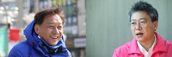 이광재 더불어민주당 후보(왼쪽)와 박정하 민주통합당 후보. 우상조 기자