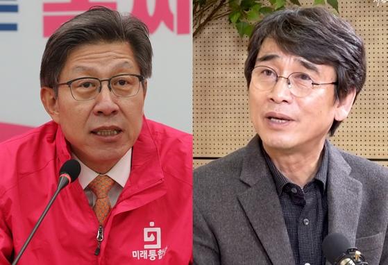 박형준(왼쪽) 미래통합당 공동선대위원장, 유시민 노무현재단 이사장. 연합뉴스·유튜브 알릴레오