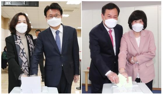 제21대 국회의원 선거가 시작된 15일 대전 중구에 출마한 황운하 더불어민주당 후보(왼쪽, 지난 10일 사전투표 실시)와 이은권 미래통합당 후보가 투표를 하고 있다. [뉴스1]