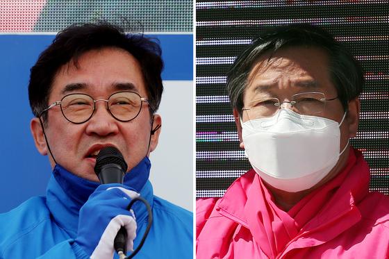 지지 호소하는 민주당 맹성규(왼쪽)·통합당 유정복 후보. 연합뉴스