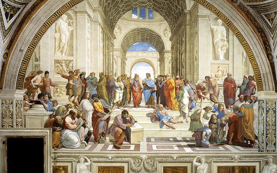 라파엘로가 16세기에 그린 벽화 '아테네학당'. 가운데 두 사람이 플라톤과 아리스토텔레스다. 이상주의자 플라톤은 하늘을 가리키고, 현실과 사실을 중시한 아리스토텔레스는 땅을 가리키고 있다. [사진 위키피디아]