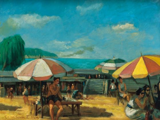 박득순,해운대 해수욕장 풍경, oil on canvas, 41.0☓53.0cm,1964, 추정가 800만~1200만원[사진 서울옥션]