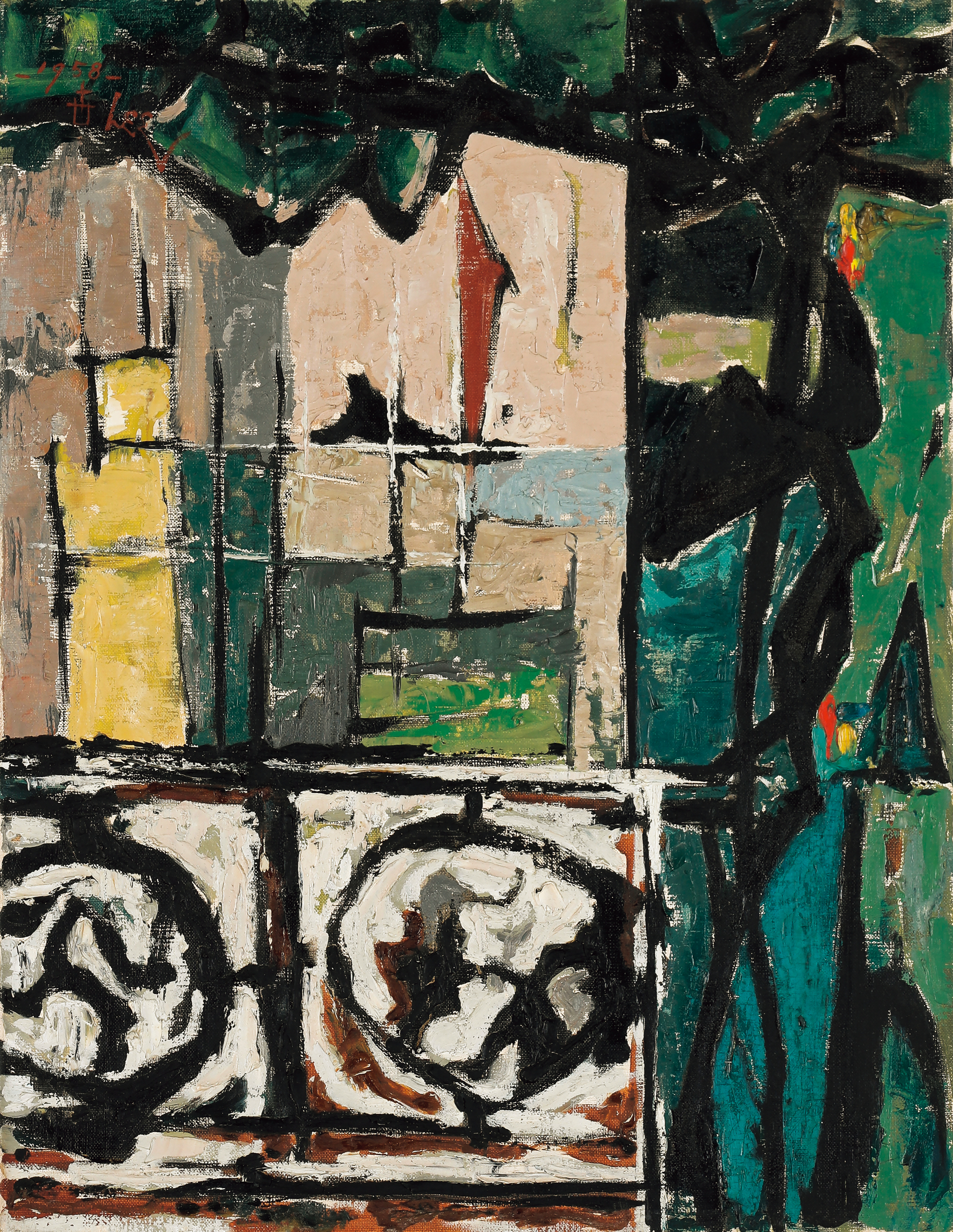 이세득, '하오의 테라스', oil on canvas, 53.2☓41.0cm, 1958, 경매 추정가 900~ 1300만원 [사진 서울옥션]