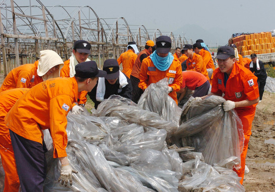 농번기를 맞아 부산해양경찰서 봉사대원들이 부산 강서구 대저동 들녘에서 폐비닐을 수거하고 있다.[중앙포토]