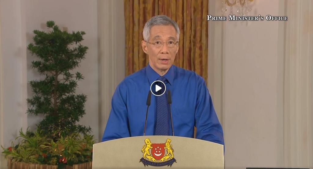 대국민담화 발표하는 리센룽 싱가포르 총리. 사진 싱가포르 총리실 유튜브