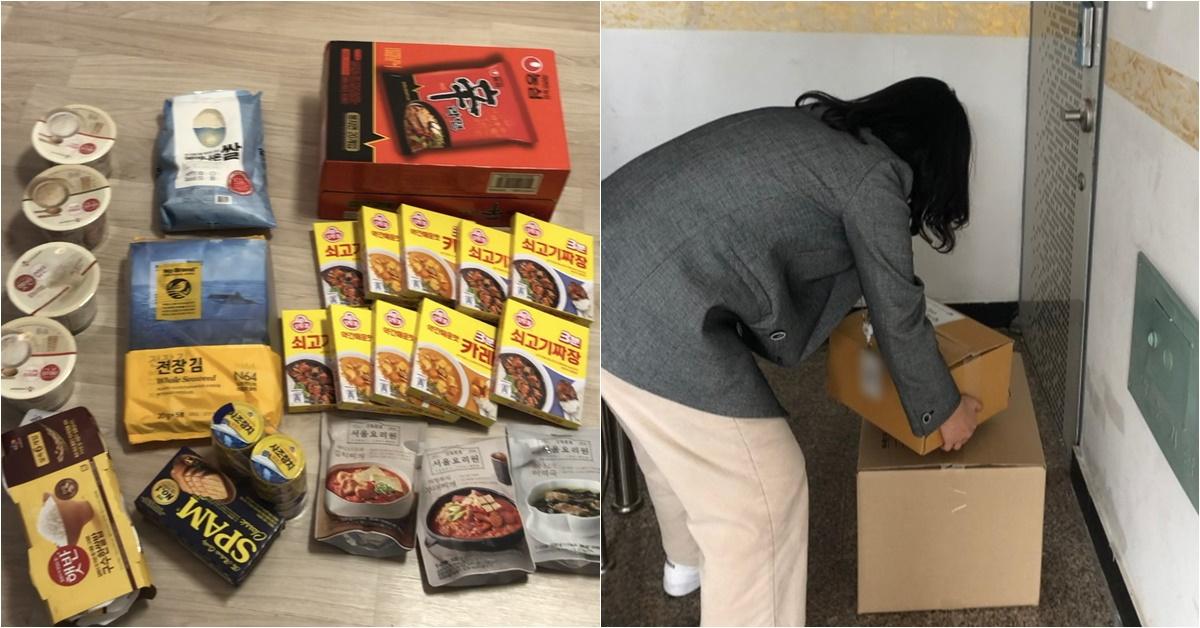 이모씨가 자신의 인스타그램에 용산구로부터 받은 구호 물품을 공개한 사진(왼쪽), 안산시 직원이 자가격리 물품을 전달하는 모습. [사진 독자 제공, 안산시]