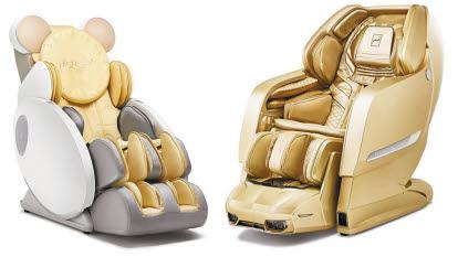 바디프랜드 안마의자는 림프마사지·온열마사지·수면 마사지 등의 기능을 갖춰 면역력과 건강관리에 도움이 된다. '하이키(Highkey)'(왼쪽)와 '파라오ⅡCOOL브레인'.  [사진 바디프랜드]