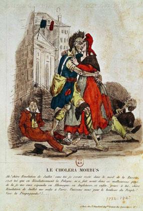 파리를 휩쓴 콜레라 균을 그린 캐리커처. [사진 Wikimedia Commons]