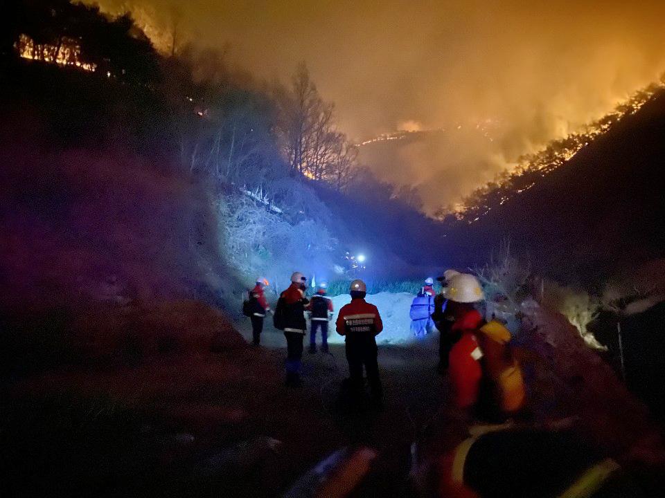 산림청 공중진화대원들이 24일 경북 안동시 풍천면 인금리 일대 야산에서 야간 산불 진화 작업을 하고 있다. 사진 산림청