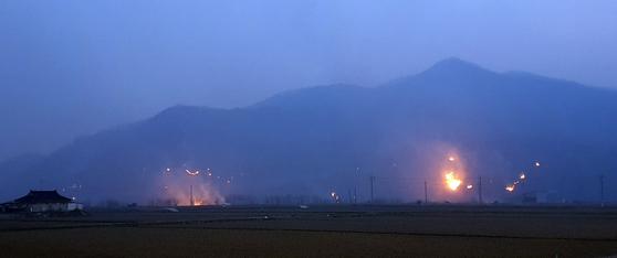 계속되는 안동 산불. 사진 연합뉴스TV 제공
