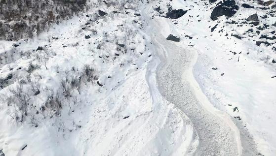충남 교사 4명이 실종된 네팔 히말라야 안나푸르나 사고 현장 모습. 연합뉴스