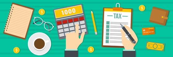 Tax calculator banner. Flat illustration of tax calculator banner for web; Shutterstock ID 1053376721; 프로젝트: 중앙일보_중앙경제 1면; 담당자: 김영희