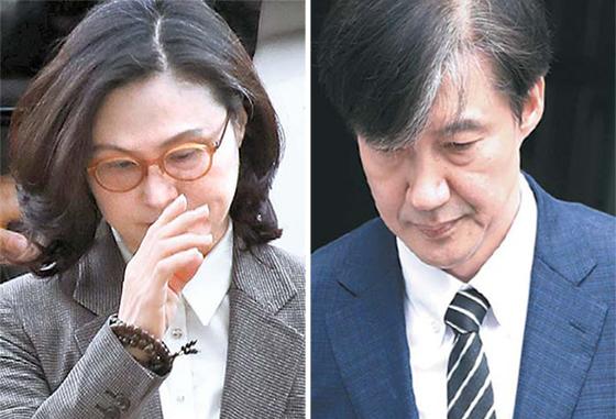 조국 전 법무부 장관의 부인 정경심 교수(왼쪽)와 조 전 장관. 우상조 기자, [연합뉴스]