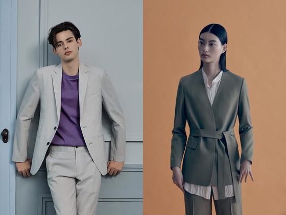 부드러운 느낌의 라이트 그레이 셋업 수트에 튀는 컬러의 보라색 셔츠를 매치한 남성복 'TNGT', 몸에 붙는 깔끔한 슬림 핏 재킷에 벨트를 둘러 허리 선을 강조한 여성복 '구호'. 사진 TNGT, 구호